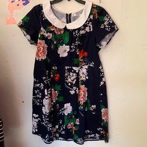 SUNNY GIRL NAVY FLORAL DRESS W/ PETER PAN COLLAR